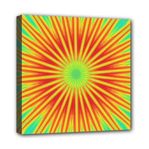 Kaleidoscope Background Mandala Red,green Sun Mini Canvas 8  X 8  (stretched) by Mariart