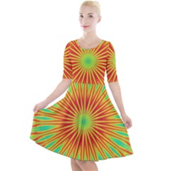 Kaleidoscope Background Mandala Red,green Sun Quarter Sleeve A Line Dress