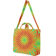 Kaleidoscope Background Mandala Red,green Sun Square Shoulder Tote Bag by Mariart