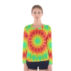 Kaleidoscope Background Red Yellow Women s Long Sleeve Tee by Mariart