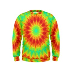Kaleidoscope Background Red Yellow Kids  Sweatshirt by Mariart