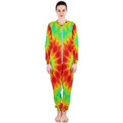 Kaleidoscope Background Red Yellow Onepiece Jumpsuit (ladies)