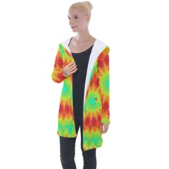 Kaleidoscope Background Red Yellow Longline Hooded Cardigan by Mariart