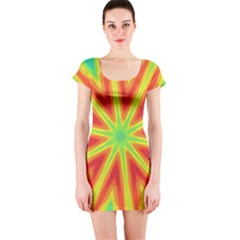 Kaleidoscope Background Star Short Sleeve Bodycon Dress by Mariart