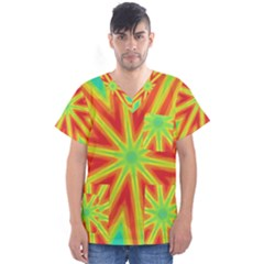 Kaleidoscope Background Star Men s V Neck Scrub Top by Mariart