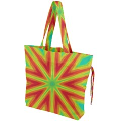 Kaleidoscope Background Star Drawstring Tote Bag