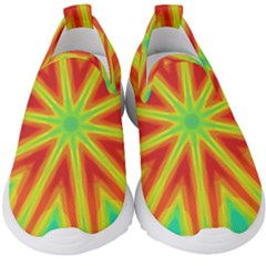 Kaleidoscope Background Star Kids  Slip On Sneakers by Mariart