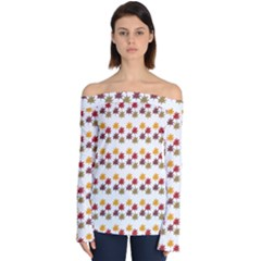 Autumn Leaves Off Shoulder Long Sleeve Top by Mariart