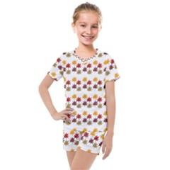 Autumn Leaves Kids  Mesh Tee And Shorts Set
