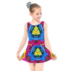 Flowers Kaleidoscope Mandala Kids  Skater Dress Swimsuit by Mariart