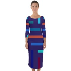 Line Background Abstract Quarter Sleeve Midi Bodycon Dress by Mariart