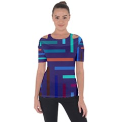 Line Background Abstract Shoulder Cut Out Short Sleeve Top