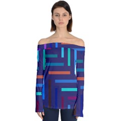 Line Background Abstract Off Shoulder Long Sleeve Top by Mariart