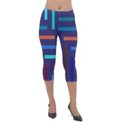 Line Background Abstract Lightweight Velour Capri Leggings  by Mariart
