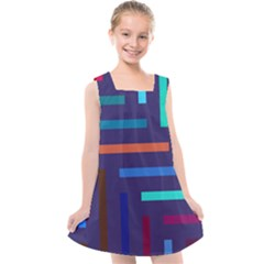Line Background Abstract Kids  Cross Back Dress by Mariart