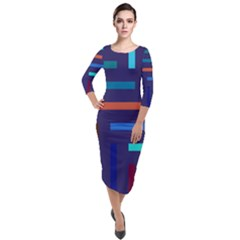 Line Background Abstract Quarter Sleeve Midi Velour Bodycon Dress by Mariart
