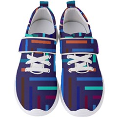 Line Background Abstract Men s Velcro Strap Shoes
