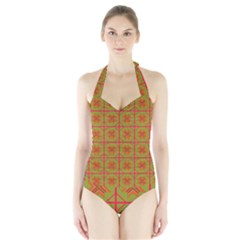 Western Pattern Backdrop Halter Swimsuit by Mariart