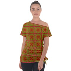 Western Pattern Backdrop Tie Up Tee by Mariart