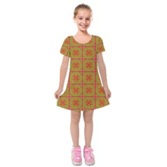Western Pattern Backdrop Kids  Short Sleeve Velvet Dress by Mariart
