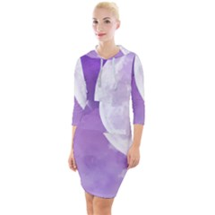 Purple Sky Star Moon Clouds Quarter Sleeve Hood Bodycon Dress by Mariart
