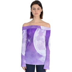 Purple Sky Star Moon Clouds Off Shoulder Long Sleeve Top by Mariart