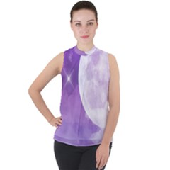 Purple Sky Star Moon Clouds Mock Neck Chiffon Sleeveless Top by Mariart