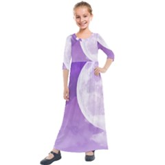 Purple Sky Star Moon Clouds Kids  Quarter Sleeve Maxi Dress by Mariart