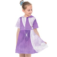 Purple Sky Star Moon Clouds Kids  Sailor Dress by Mariart