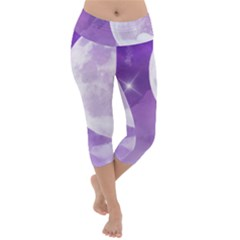 Purple Sky Star Moon Clouds Lightweight Velour Capri Yoga Leggings by Mariart