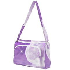 Purple Sky Star Moon Clouds Front Pocket Crossbody Bag