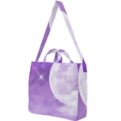Purple Sky Star Moon Clouds Square Shoulder Tote Bag by Mariart