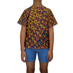 Background Abstract Texture Rainbow Kids  Short Sleeve Swimwear by AnjaniArt