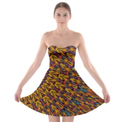 Background Abstract Texture Rainbow Strapless Bra Top Dress