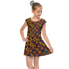 Background Abstract Texture Rainbow Kids  Cap Sleeve Dress