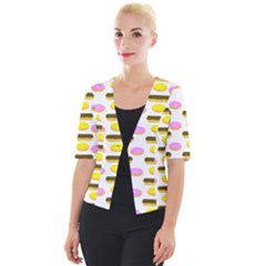 Donuts Fry Cake Cropped Button Cardigan