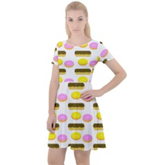 Donuts Fry Cake Cap Sleeve Velour Dress