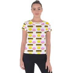 Donuts Fry Cake Short Sleeve Sports Top  by AnjaniArt