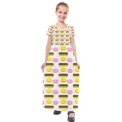 Donuts Fry Cake Kids  Short Sleeve Maxi Dress by AnjaniArt