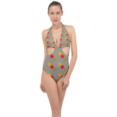 Fall Leaves Autumn Leaves Halter Front Plunge Swimsuit by AnjaniArt
