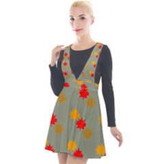 Fall Leaves Autumn Leaves Plunge Pinafore Velour Dress