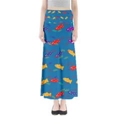 Fish Background Pattern Texture Rainbow Full Length Maxi Skirt by AnjaniArt