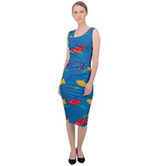 Fish Background Pattern Texture Rainbow Sleeveless Pencil Dress