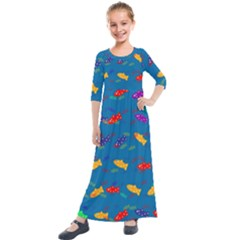 Fish Background Pattern Texture Rainbow Kids  Quarter Sleeve Maxi Dress by AnjaniArt