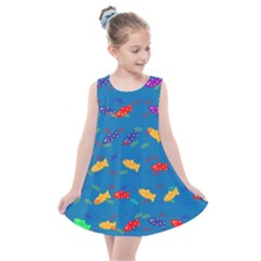 Fish Background Pattern Texture Rainbow Kids  Summer Dress by AnjaniArt