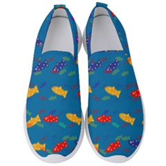 Fish Background Pattern Texture Rainbow Men s Slip On Sneakers by AnjaniArt