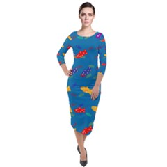 Fish Background Pattern Texture Rainbow Quarter Sleeve Midi Velour Bodycon Dress by AnjaniArt