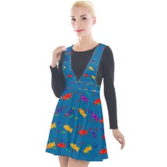 Fish Background Pattern Texture Rainbow Plunge Pinafore Velour Dress