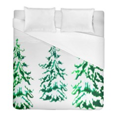 Christmas Pine Trees Snow Xmas Duvet Cover (full/ Double Size) by AnjaniArt