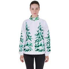 Christmas Pine Trees Snow Xmas High Neck Windbreaker (women) by AnjaniArt